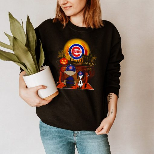 Snoopy and Charlie Brown Pumpkin Chicago Cubs Halloween Moon shirt