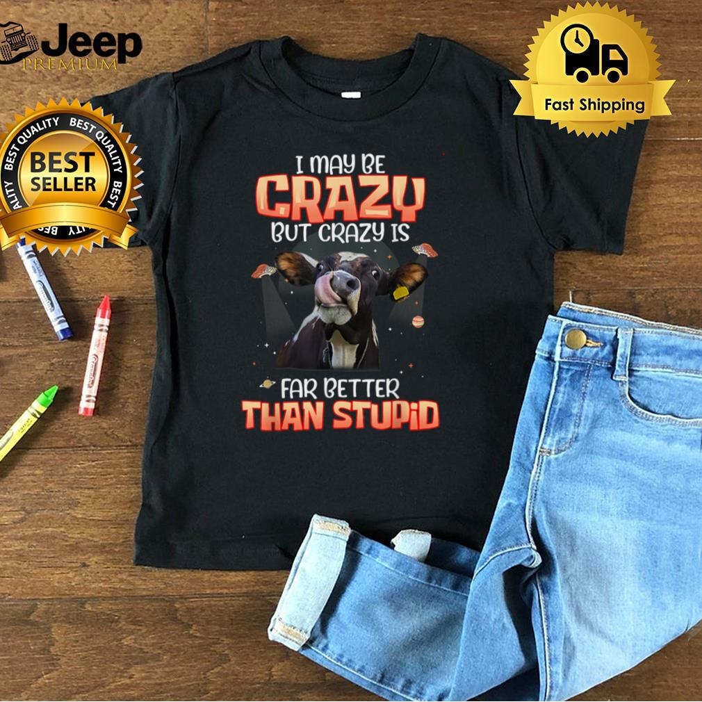 I May Be Crazy But Crazy Is Far Better Than Stupid Funny Cow T Shirt B09FQ6Y45N